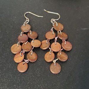 """Tiered Chandelier Style Wood Disc Earrings Hook 3"""""""